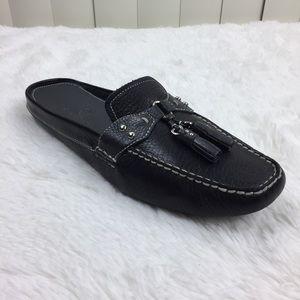 Cole Haan Black Leather Slip On Tassel Loafers 10
